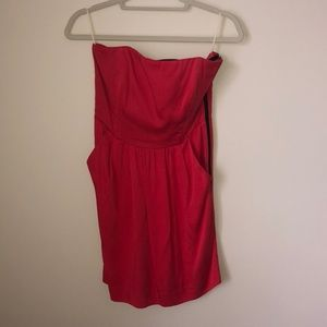 Orange/ red strapless dress